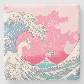 Psychodelic Bubblegum Kunagawa Surfer Cat Stone Coaster