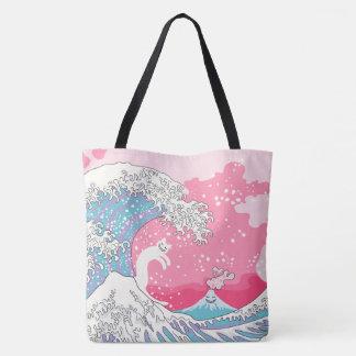 Psychodelic Bubblegum Kunagawa Surfer Cat Tote Bag