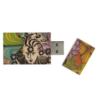Psychodelic pop USB Rectangle Wood USB Flash Drive