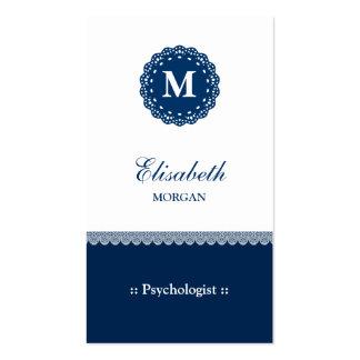 Psychologist Elegant Blue Lace Monogram Pack Of Standard Business Cards