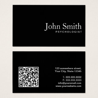 Psychologist Minimal Plain Black QR Code Business Card