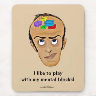 Psychology Humor Cartoon/Man with Mental Blocks Mouse Pad