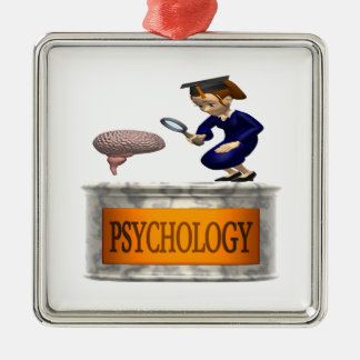 Psychology Silver-Colored Square Ornament