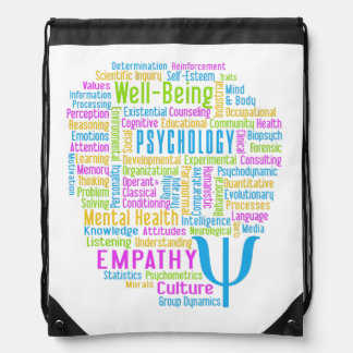 PSYCHOLOGY Word Cloud custom color daypack Drawstring Bag