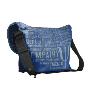 PSYCHOLOGY Word Cloud custom color messenger bag