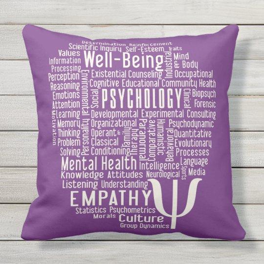 PSYCHOLOGY Word Cloud custom colour throw pillow