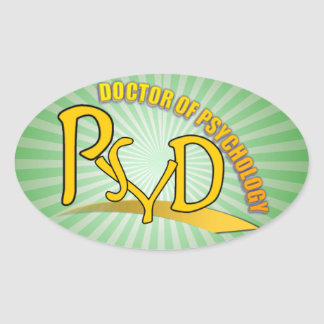 PSYD DOCTOR OF PSYCHOLOGY YELLOW LOGO OVAL STICKER