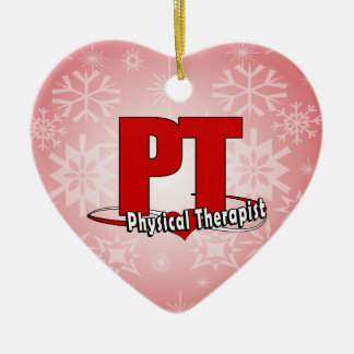 PT LOGO BIG RED    Physical Therapist Ceramic Heart Ornament