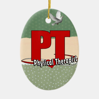 PT LOGO BIG RED    Physical Therapist Ceramic Oval Ornament