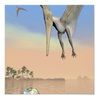 Pteranodon dinosaurs fishing - 3D render Card