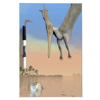 Pteranodon dinosaurs fishing - 3D render Dry Erase Board