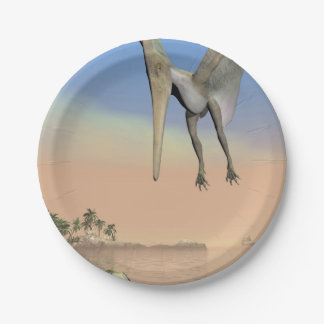 Pteranodon dinosaurs fishing - 3D render Paper Plate