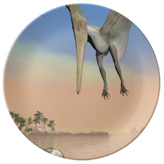 Pteranodon dinosaurs fishing - 3D render Plate