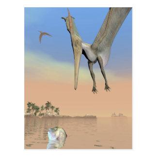 Pteranodon dinosaurs fishing - 3D render Postcard