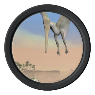 Pteranodon dinosaurs fishing - 3D render Set Of Poker Chips