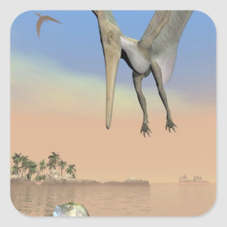 Pteranodon dinosaurs fishing - 3D render Square Sticker