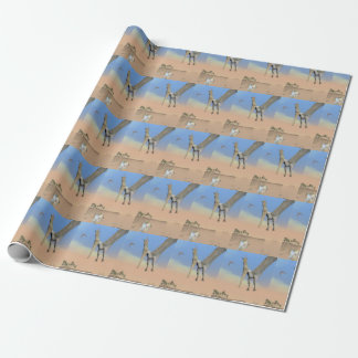 Pteranodon dinosaurs fishing - 3D render Wrapping Paper