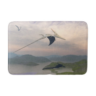 Pteranodon dinosaurs flying - 3D render Bath Mat