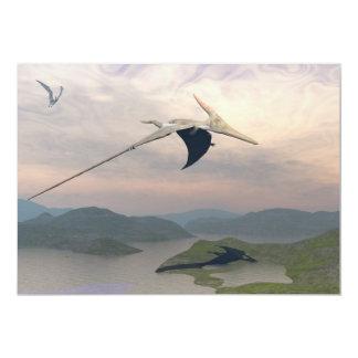 Pteranodon dinosaurs flying - 3D render Card