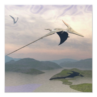 Pteranodon dinosaurs flying - 3D render Card