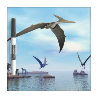 Pteranodon dinosaurs flying - 3D render Dry Erase Board