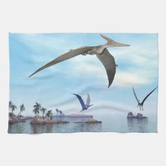 Pteranodon dinosaurs flying - 3D render Kitchen Towel