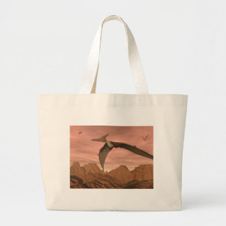 Pteranodon dinosaurs flying - 3D render Large Tote Bag