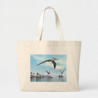 Pteranodon dinosaurs flying - 3D render Large Tote Bag