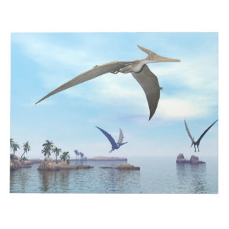 Pteranodon dinosaurs flying - 3D render Notepad