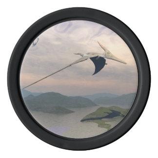 Pteranodon dinosaurs flying - 3D render Poker Chips