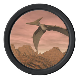 Pteranodon dinosaurs flying - 3D render Poker Chips