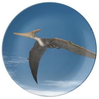 Pteranodon dinosaurs flying - 3D render Porcelain Plate