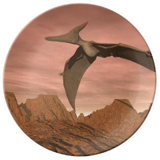 Pteranodon dinosaurs flying - 3D render Porcelain Plates
