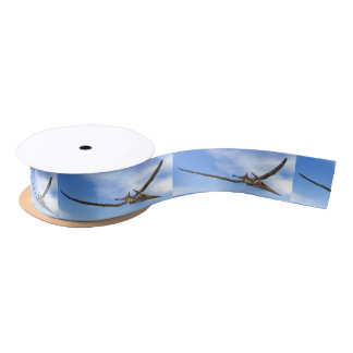 Pteranodon dinosaurs flying - 3D render Satin Ribbon