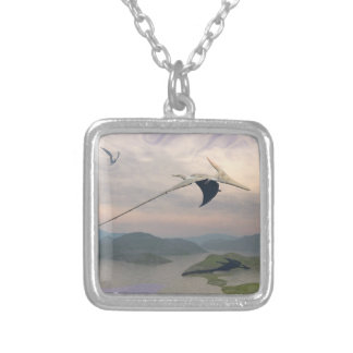 Pteranodon dinosaurs flying - 3D render Silver Plated Necklace