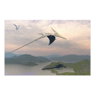 Pteranodon dinosaurs flying - 3D render Stationery