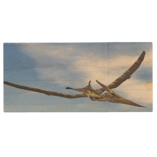 Pteranodon dinosaurs flying - 3D render Wood USB Flash Drive