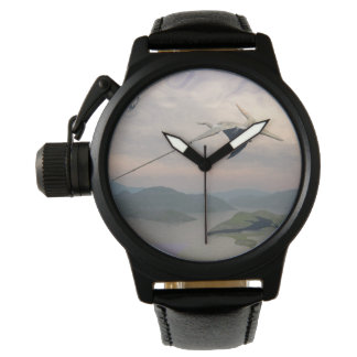 Pteranodon dinosaurs flying - 3D render Wristwatch