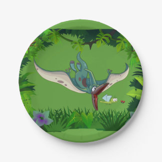 Pteranodon eating a dragonfly eating a ladybug 7 inch paper plate