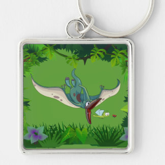 Pteranodon eating a dragonfly eating a ladybug keychain