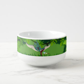 Pteranodon eating a dragonfly eating a ladybug soup bowl with handle