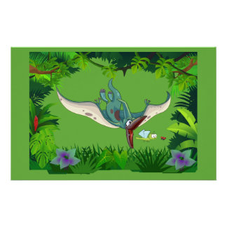 Pteranodon eating a dragonfly eating a ladybug stationery design