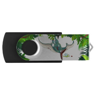 Pteranodon eating a dragonfly eating a ladybug swivel USB 2.0 flash drive