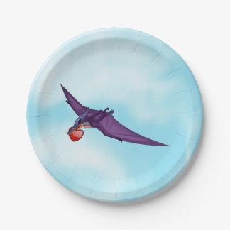 Pteranodon Valentine Paper Plate