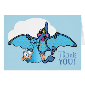 Pterodactyl Dinosaur Boy Baby Shower Thank You Card