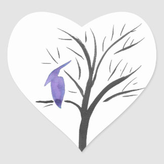 Pterodactyl In A Tree Heart Sticker