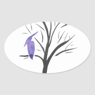 Pterodactyl In A Tree Oval Sticker