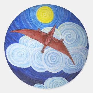 Ptérodactyle en vol sticker rond