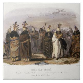Ptihn-Tak-Ochata, Dance of the Mandan Women, plate Tile