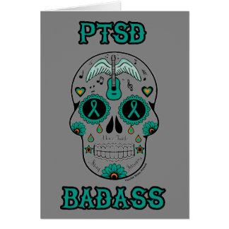 PTSD Badass sugar skull Card